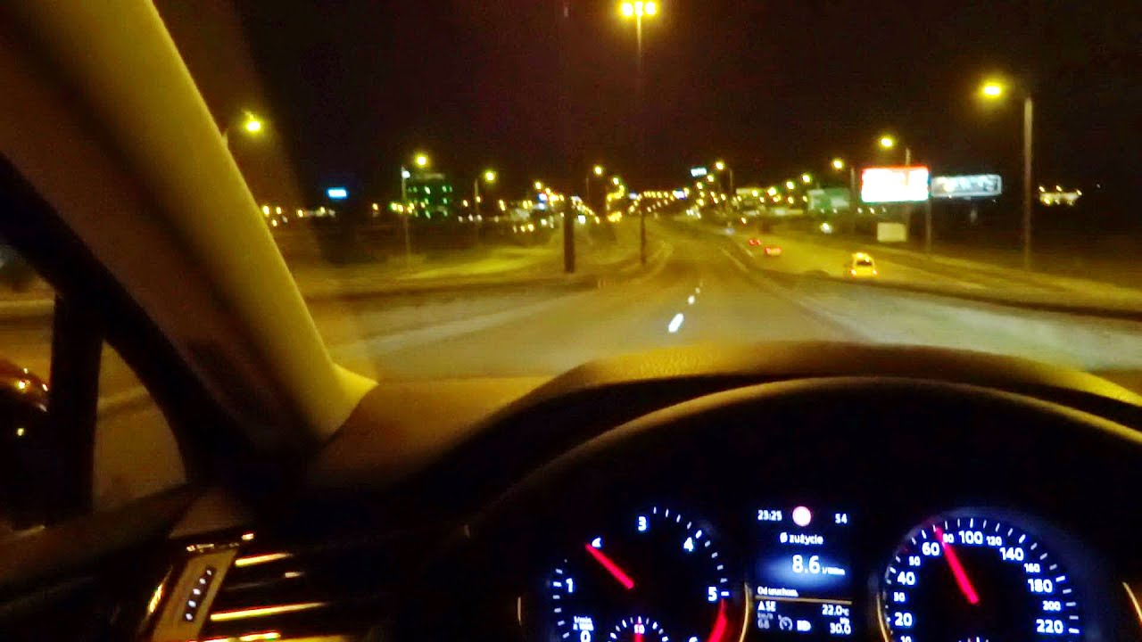 2015 VW Passat B8 2.0 TDI Night Test Drive Driving Cruising Fuel Consumption DYNAMIC LIGHT ASSIST