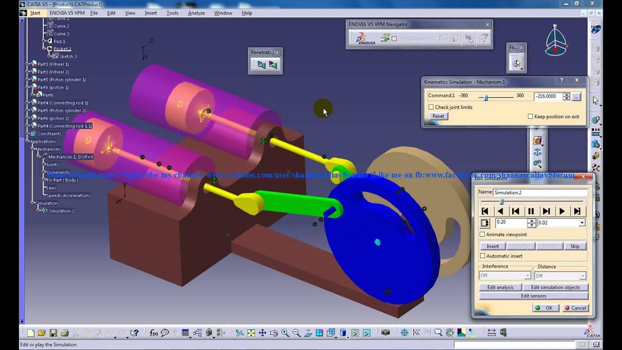 Catia V5|Digital Mockup|DMU Kinematics Tutorial|4 Stroke Petrol  Engine|Automobile Engine Simulation