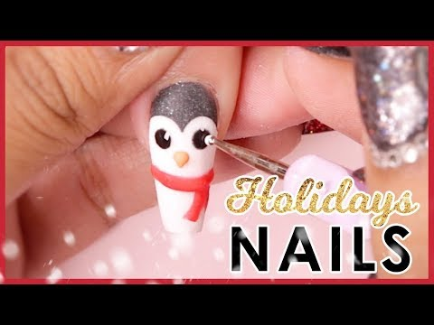 🐧 Holiday 3D Acrylic Nail Art Tutorial ❄️ thumbnail