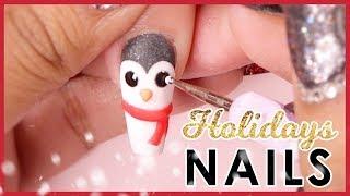🐧 Holiday 3D Acrylic Nail Art Tutorial ❄️