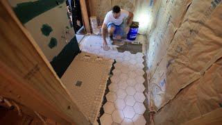 Off Grid Cabin Build: Wet Bath Tile Floor