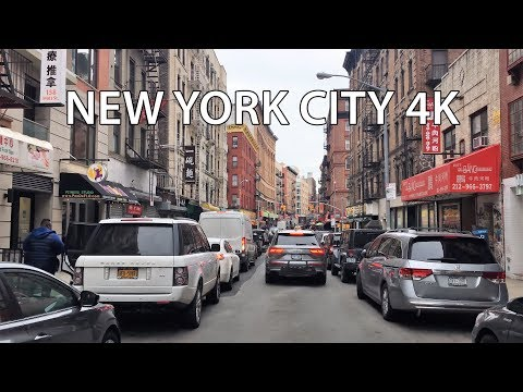 Driving Downtown - Chinatown 4K - New York City USA