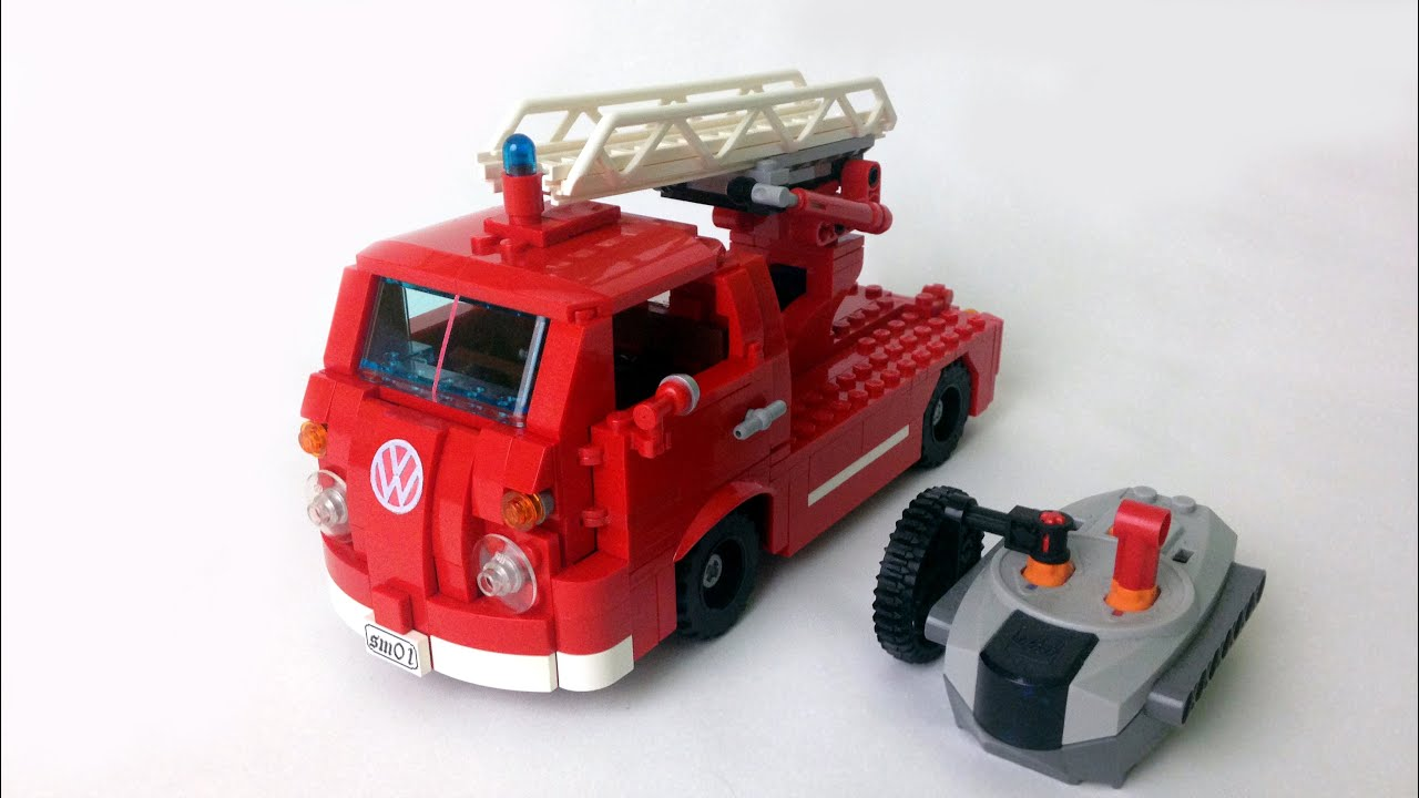 lego smallest rc vw t1 fire truck moc youtube. Black Bedroom Furniture Sets. Home Design Ideas