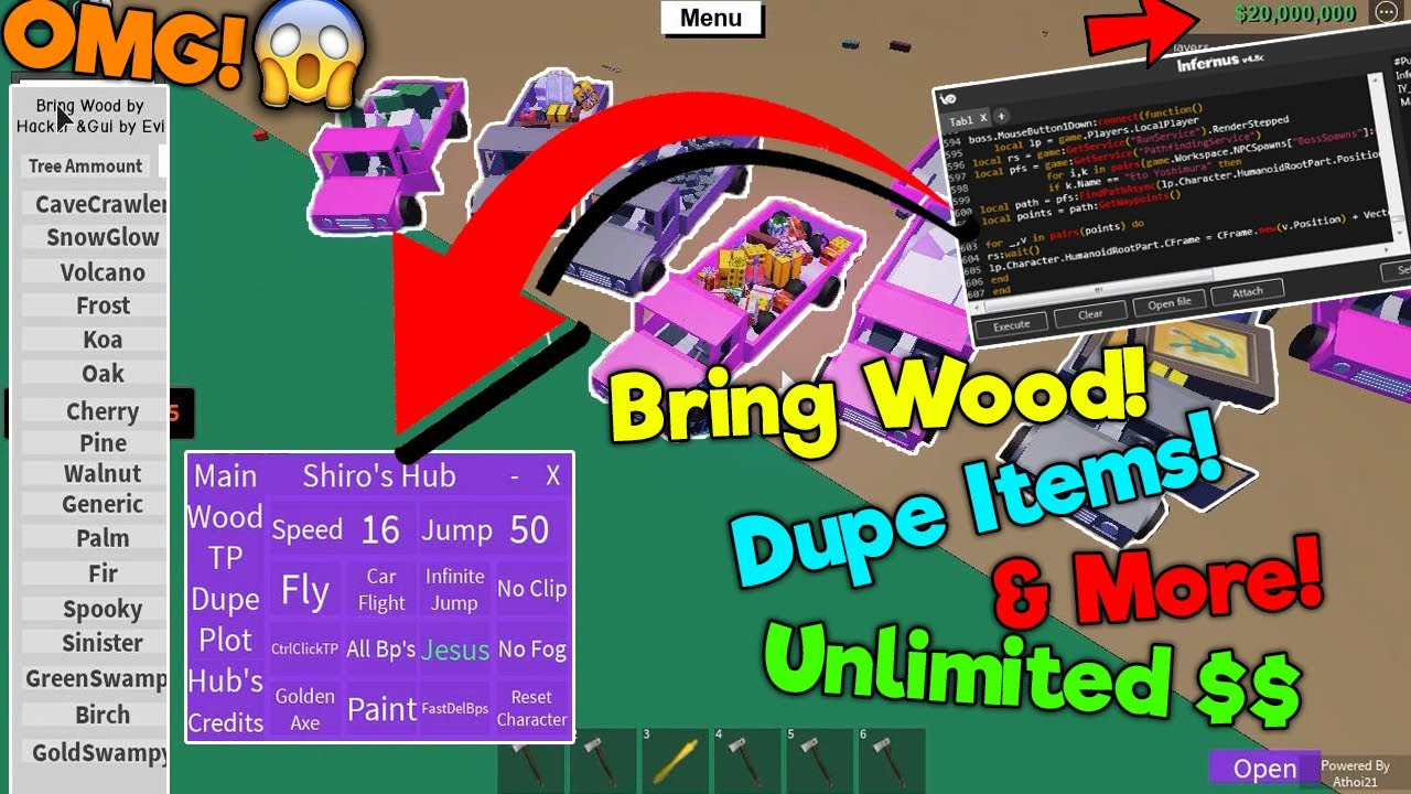 Roblox Limb Splitter Hack Free Roblox Lumber Tycoon 2 Script Hack Dupe Gui Dupe Items Money Axes Tree Teleport More Youtube