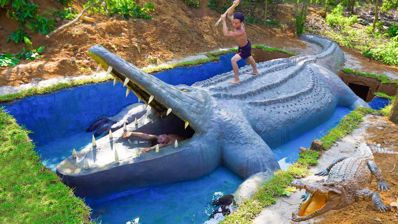 Build Underground Swimming Pool Water Slide Crocodile Around Secret Underground House