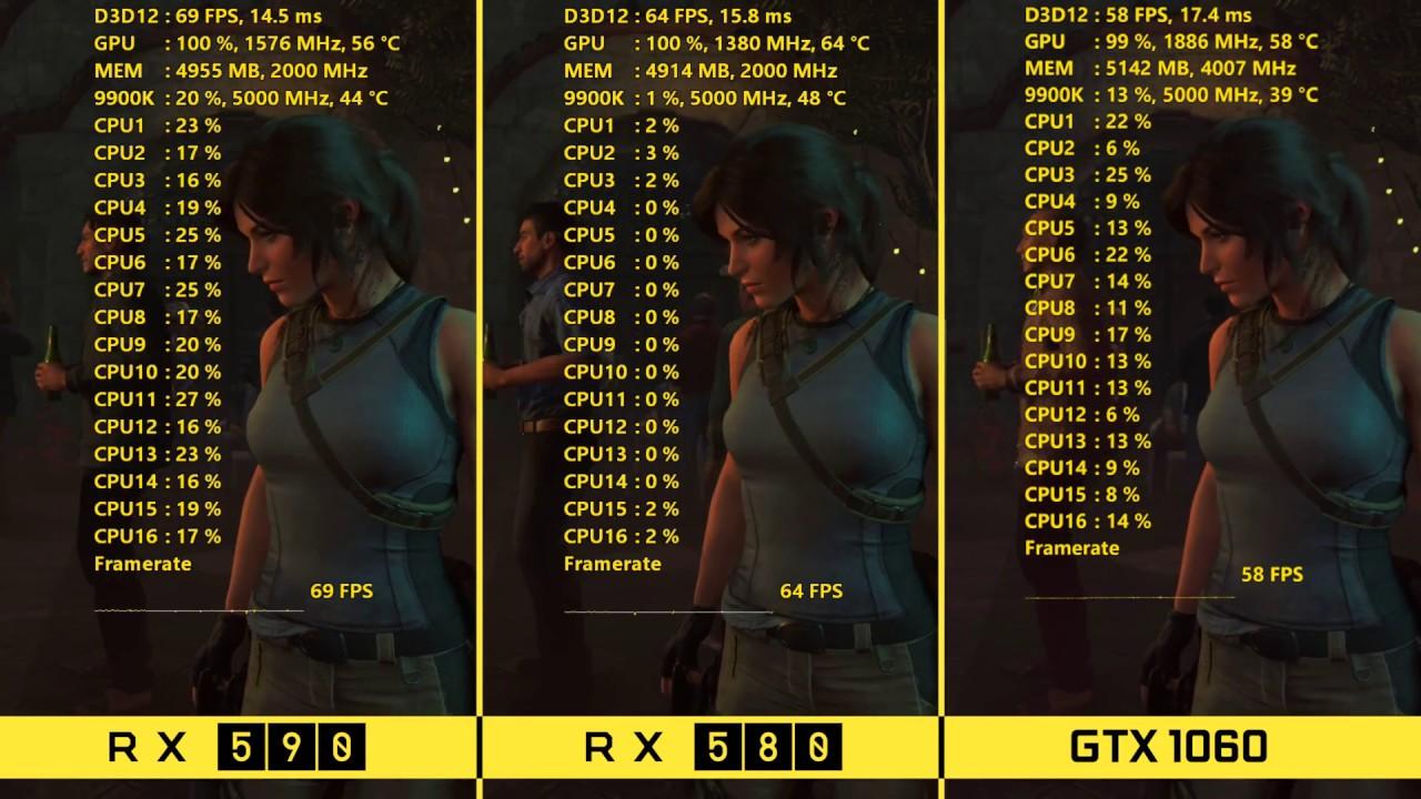 Amd Rx 590 Vs Rx 580 Vs Nvidia Gtx 1060 1080p Benchmarks Youtube