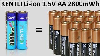 ????Супер батарейки литий-ионные аккумуляторы KENTLI Li-ion 1.5V AA 2800mWh: тест, обзор - купить