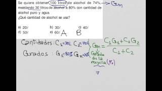 Como resolver problemas de mezclas alcohólicas, grado de la mezcla