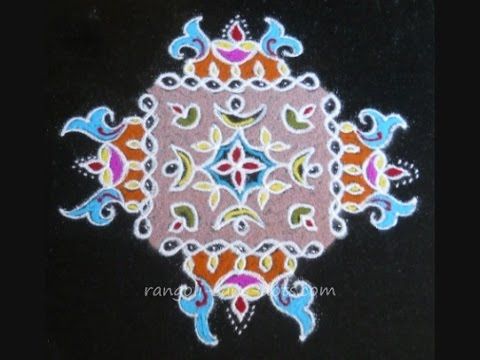 New Year pulli kolam with deepam | 15 to 1 dots Sankranti ...