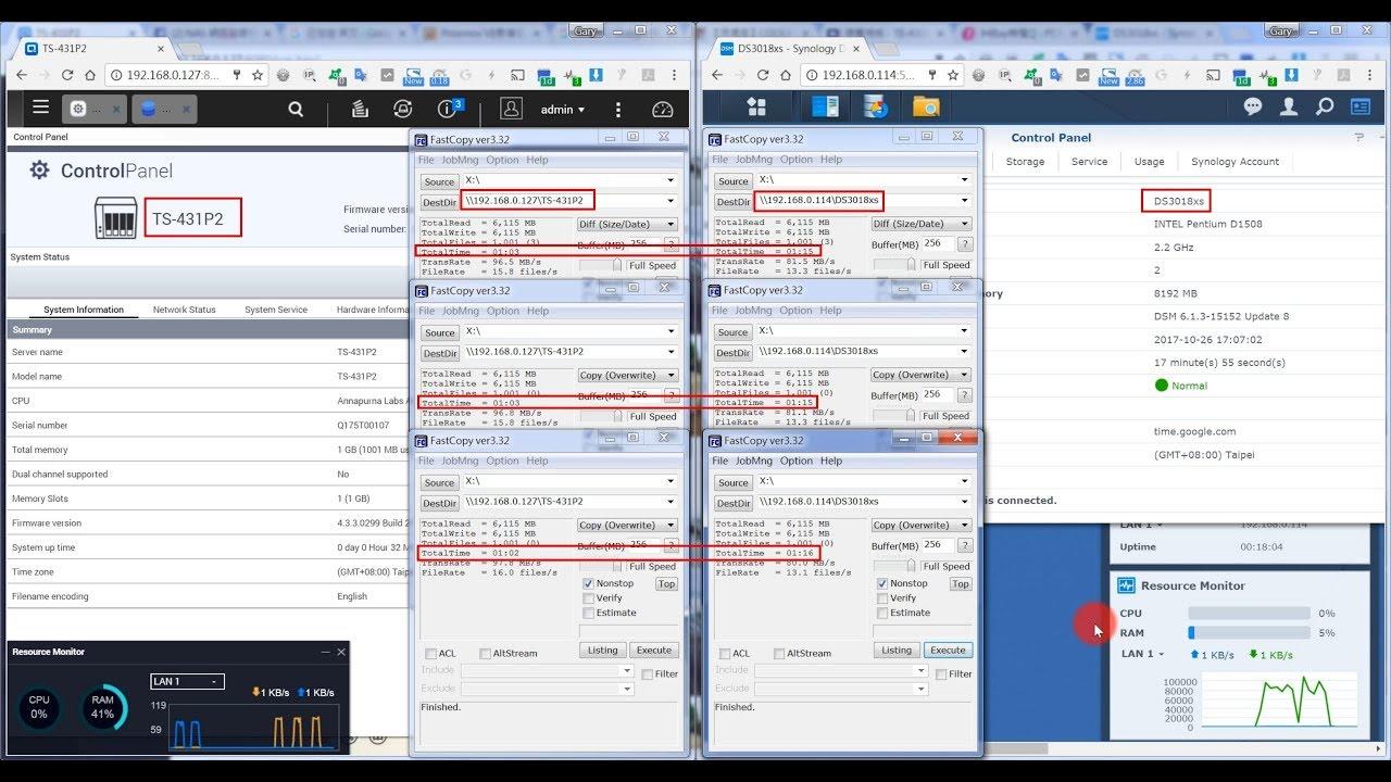 QNAP TS-431P2 vs Synology DS3018xs SMB write performance