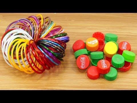 Diy old bangles & plastic bottle caps craft idea | best out of waste