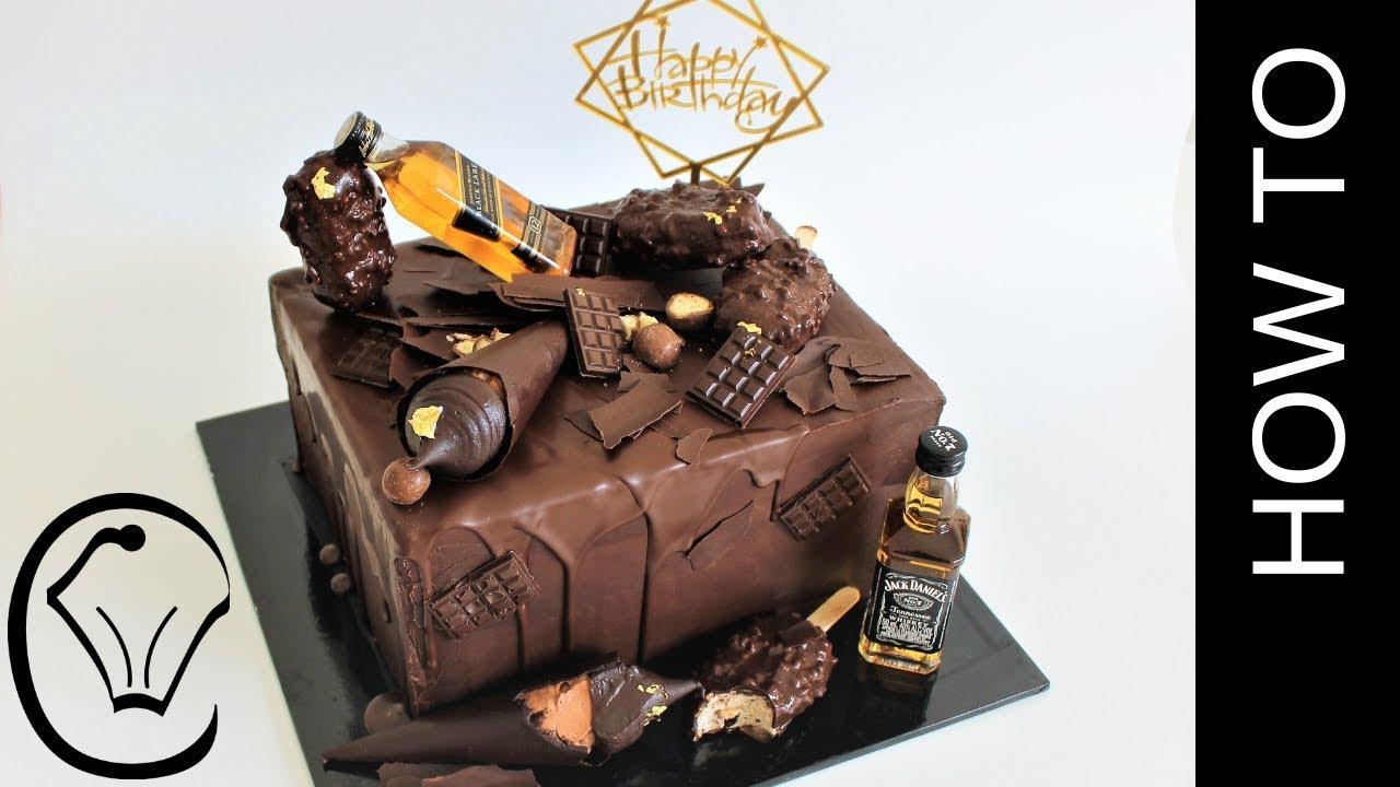 Chocolate Birthday Cake With Dark Ganache Frosting