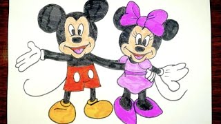 How To Draw Mickey Mouse And Minnie Mouse Together | Kids Coloring Video