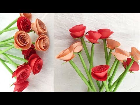 DIY-Paper rose/ Making Paper Flowers Step by Step/Diy room decor idea # 5
