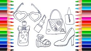 How to Draw Set of Female Accessories | Coloring Pages For Girls Shoes, Handbag, Perfume, Lipstick