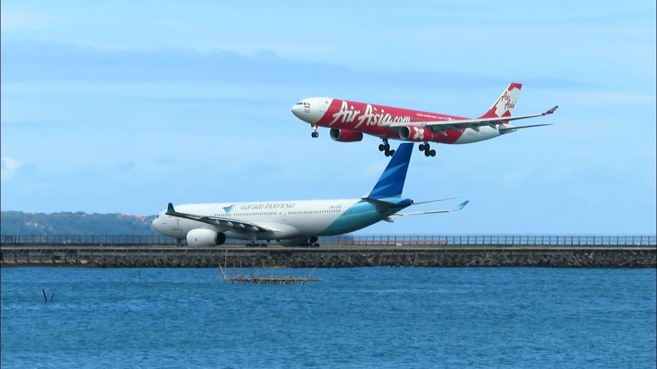 Landing Bali Airbus A330 Air Asia di Bandara Ngurah Rai - Bali Plane Spotting Indonesia