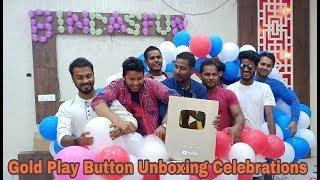 Gold Play Button Unboxing Celebrations || Bindas fun ||