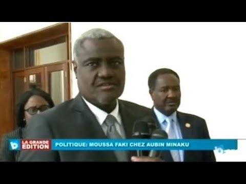 Le pres. de l'UA Moussa FAKI reçu par Aubin MINAKU, Kinshasa