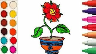 How to draw flower/draw flower with pot/flower pot/easy Drawing/drawing/easy drawing/flower drawing