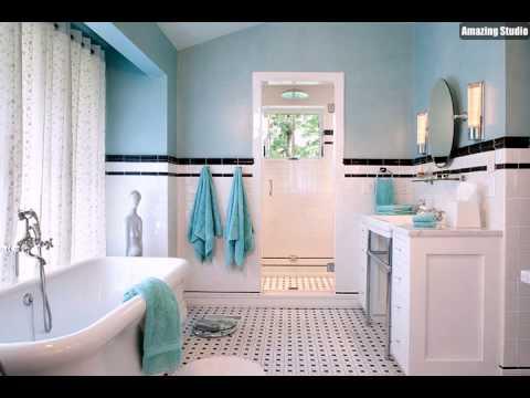 Traditionelle Badezimmer im Türkis Schwarzweiß - YouTube