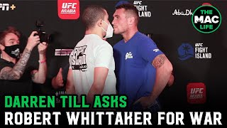 "Darren Till asks Robert Whittaker ""War? War?"" at tense face off 