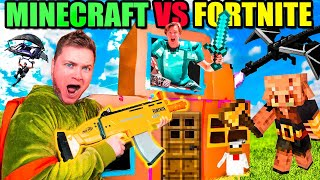 Minecraft Vs Fortnite IRL Box Fort! Defeating The Ender Dragon 24 Hour Challenge!