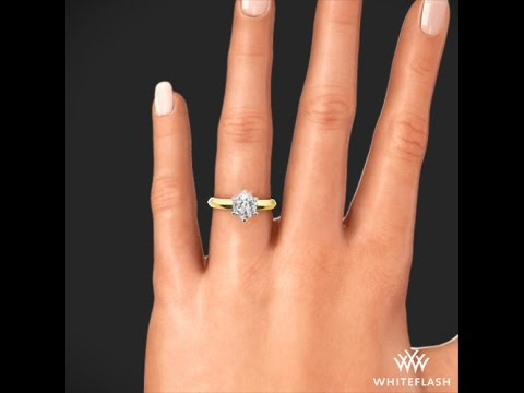 Knife Edge Solitaire Engagement Ring in Yellow Gold on Hand