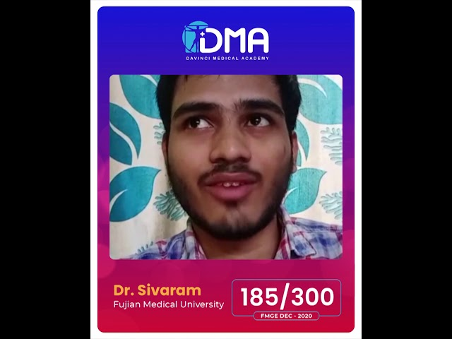 FMGE TESTIMONIAL   Dr Sivaraman   DMA Chennai