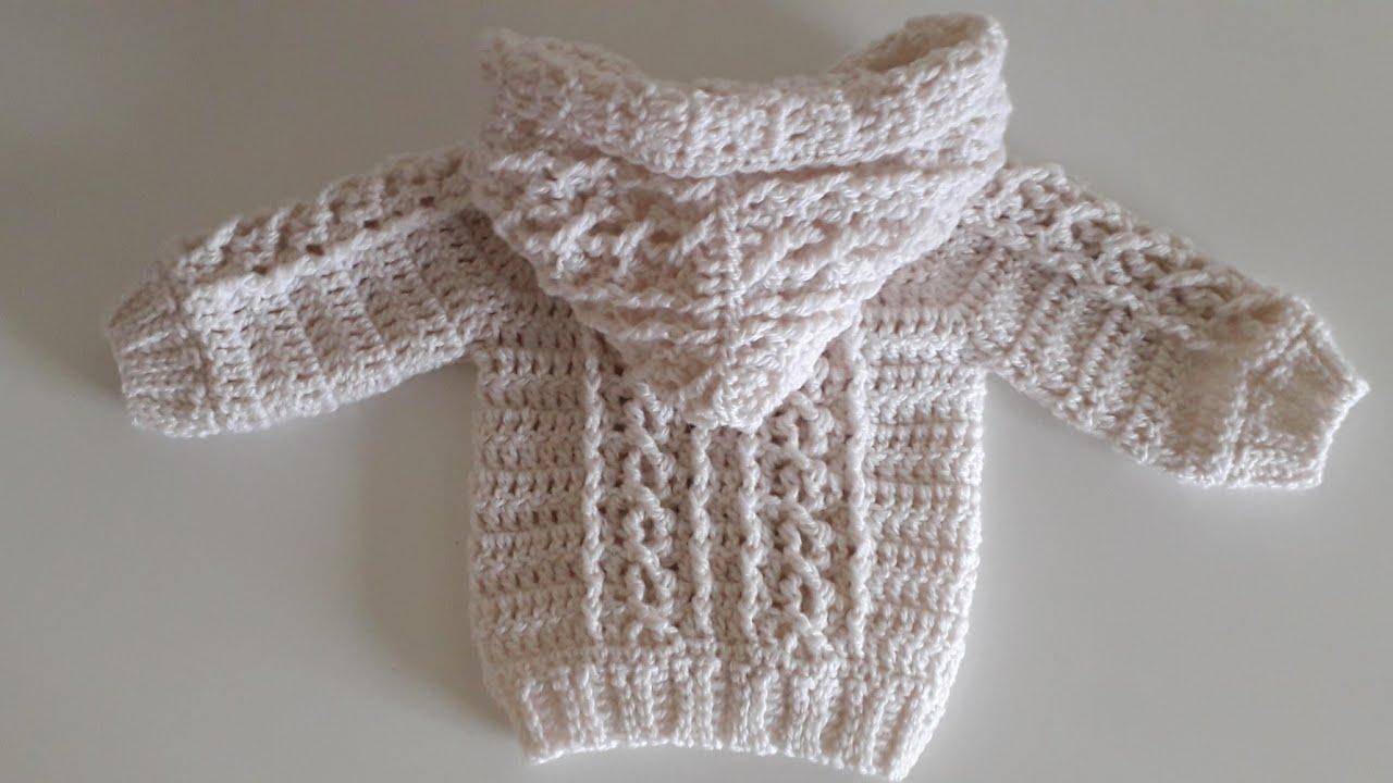 Crochet #31 How to crochet Aran baby hoodie / Part 2