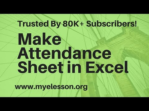 How To Make Attendance Sheet In Excel Hindi
