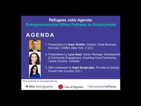 Refugees Jobs Agenda: Entrepreneurship Offers Employment Pathways
