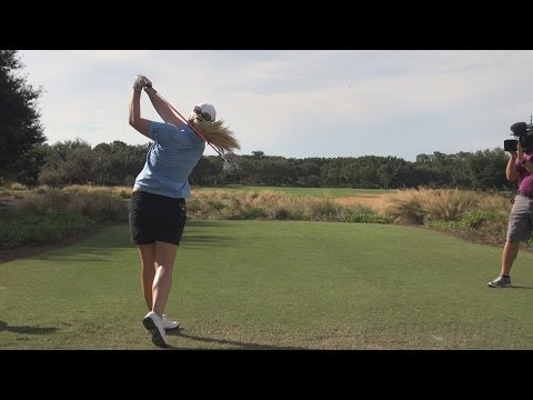 BRITTANY LINCICOME CRUSHES DRIVER FOR TV CAMERAS - CME PRACTICE GOLF SWING IN REG & SLOW MOTION