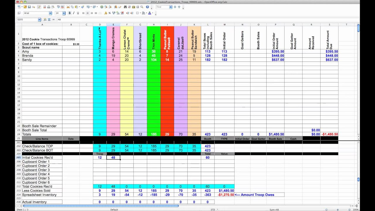 2012 cookie spreadsheet tutorial youtube for Girl scout order form template