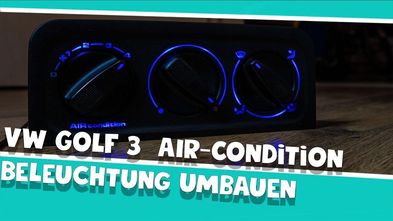 vw golf 3 air condition beleuchtung umbauen auf blau youtube. Black Bedroom Furniture Sets. Home Design Ideas