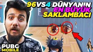 96 vs 4 DÜNYANIN EN BÜYÜK SAKLAMBACI! -PUBG Mobile Saklambaç