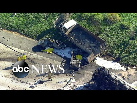 At least five people were killed in a multi-vehicle crash in California