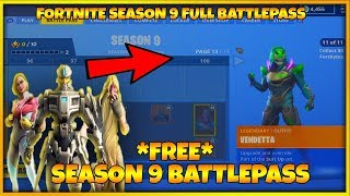 FORTNITE SEASON 9 FULL BATTLE PASS - SEASON 9 SKINS (FORTNITE SEASON 9 ALL UNLOCKS ON BATTLE PASS)