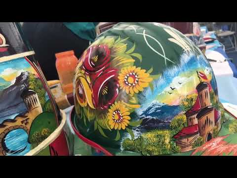Hand painted art by Canal Art on a hard hat