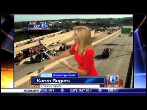 Scrap metal truck drops engine on car on Rt 202
