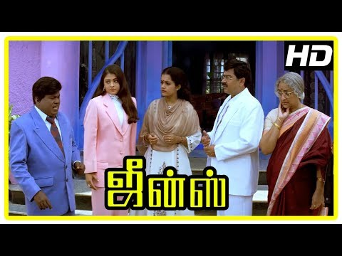 Jeans Movie Scenes | Lakshmi lies Aishwarya has a twin | Prashanth and Nassar come to India