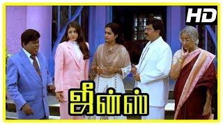 Jeans Movie Scenes | Lakshmi lies Aishwarya has a twin | Prashanth and Nassar come to India