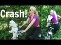 BLONDE GIRL RIDING A BIKE WITH A PUPPY= HUGE FAIL!!!!