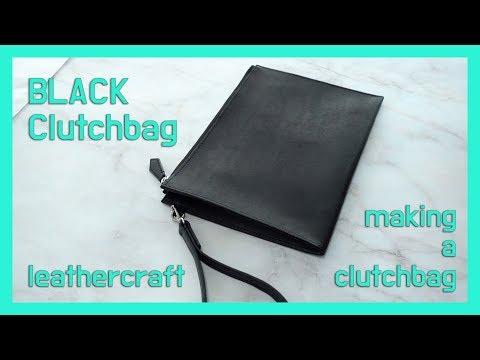 [가죽공예] 남성 블랙 클러치백 | 클러치백 빠른 제작기 | 이태리산 푸에블로 소가죽 | leathercraft | making a clutchbag