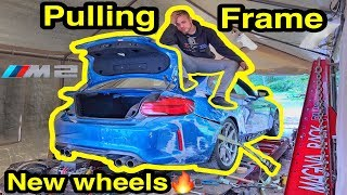 Pulling The FRAME on My Cheap Auction BMW m2! NEW WHEELS + BURNOUT