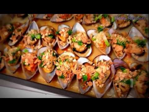 Vietnamese grilled mussels - Chem chep nuong mo hanh