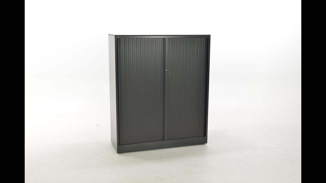 Tweedehands Ahrend Halfhoge Roldeurkasten Zwart Metallic 144 Hoog