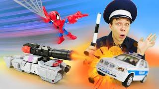 Игры для мальчиков - Трансформеры против Полицейских машин! - Видео шоу Автомастерская.