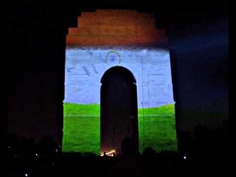 Indian Flag Animated Wallpaper 3d 3d Mapping India Gate Full Video Orignal Youtube