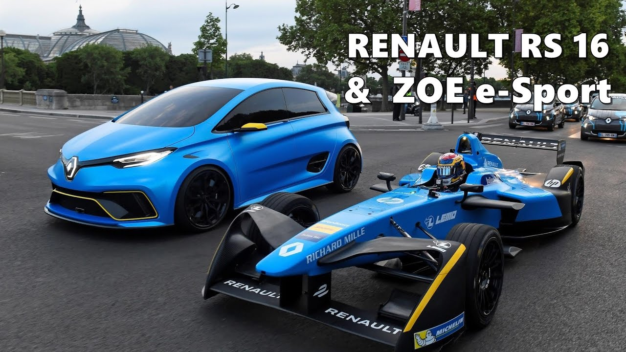 renault e dams rs 16 and zoe e sport in paris youtube. Black Bedroom Furniture Sets. Home Design Ideas