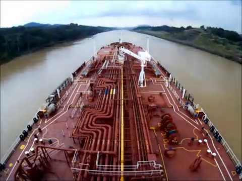Time Lapse Panama canal full transit in 4 minutes. Navigation bridge view
